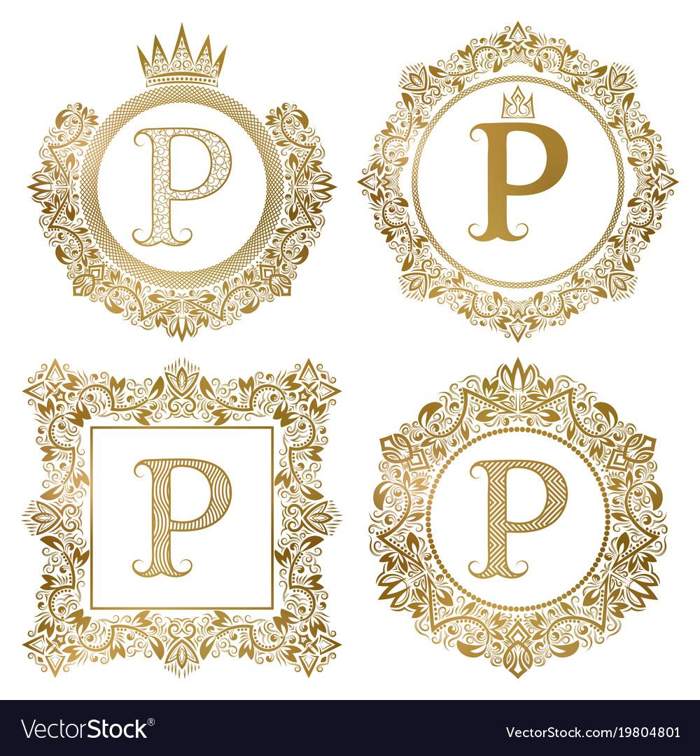 Golden letter p vintage monograms set heraldic