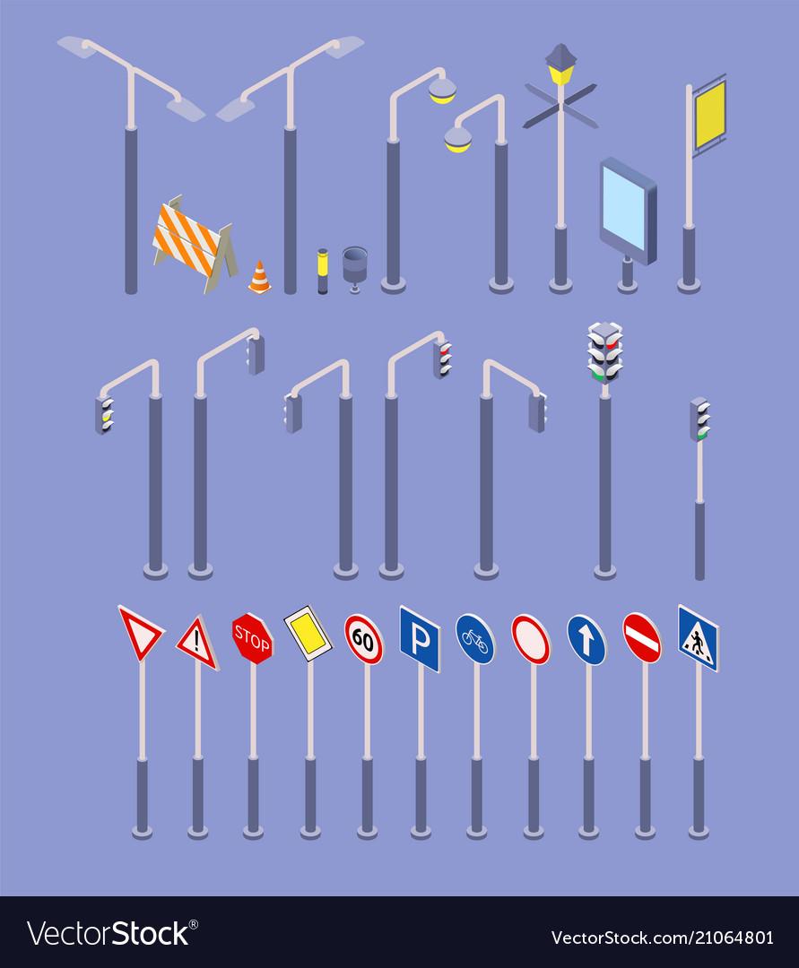 Isometric road objects icons set traffic street