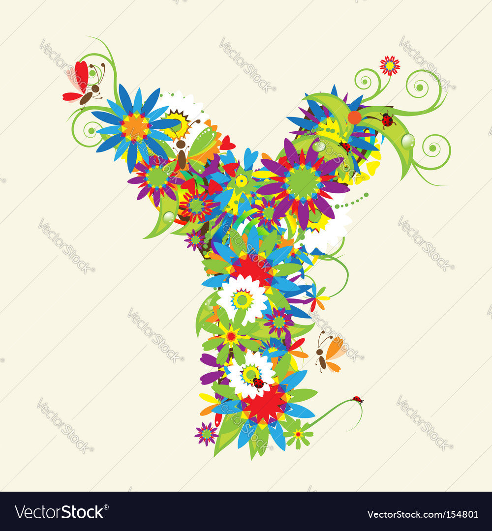 Letter Y floral design Royalty Free Vector Image