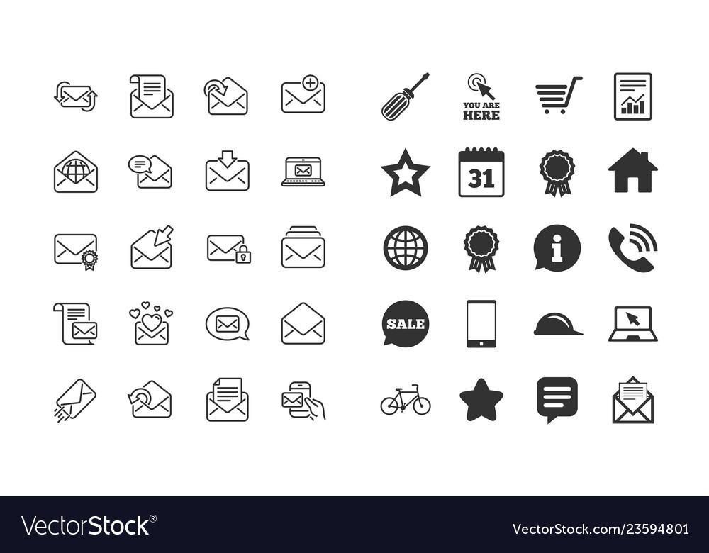 Mail messages line icons set of newsletter e