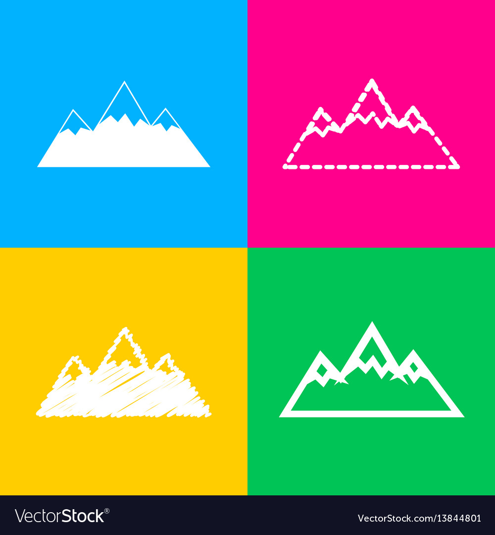 Mountain sign four styles of icon on vector image