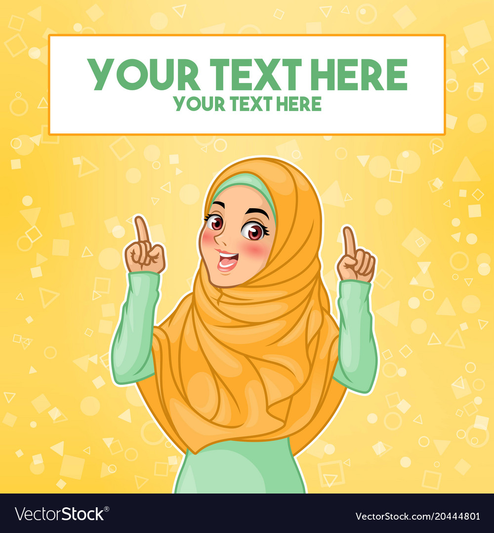 Muslim woman pointing finger up at copy space