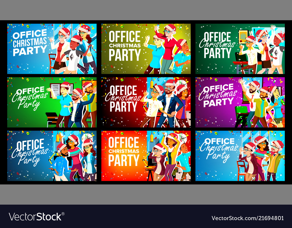 Office christmas party banner set