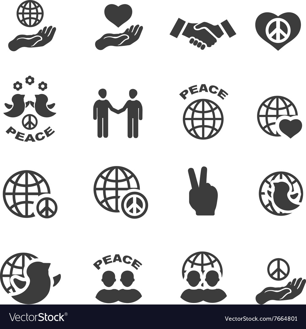 Peace icons set symbols vector image