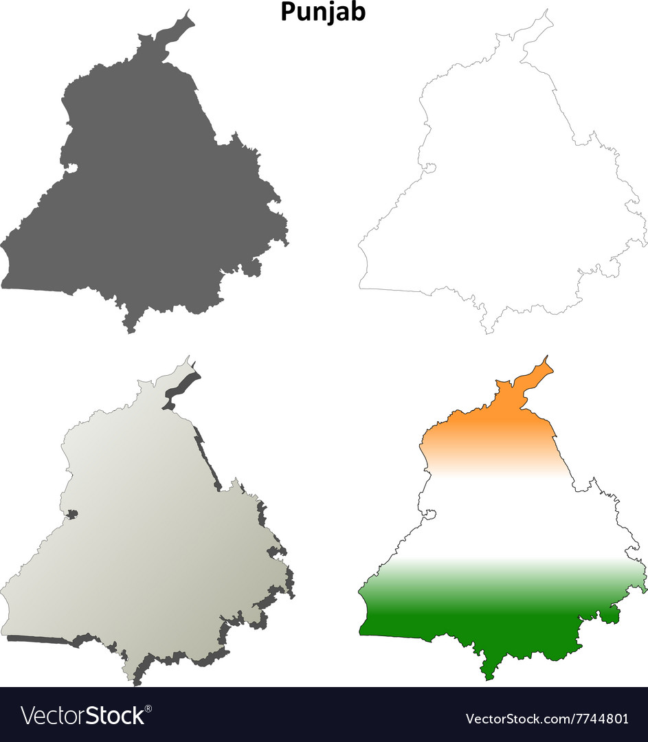 Punjab blank detailed outline map set vector image