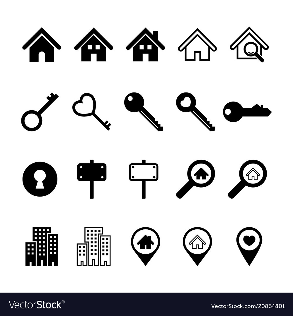 Real estate business icons set