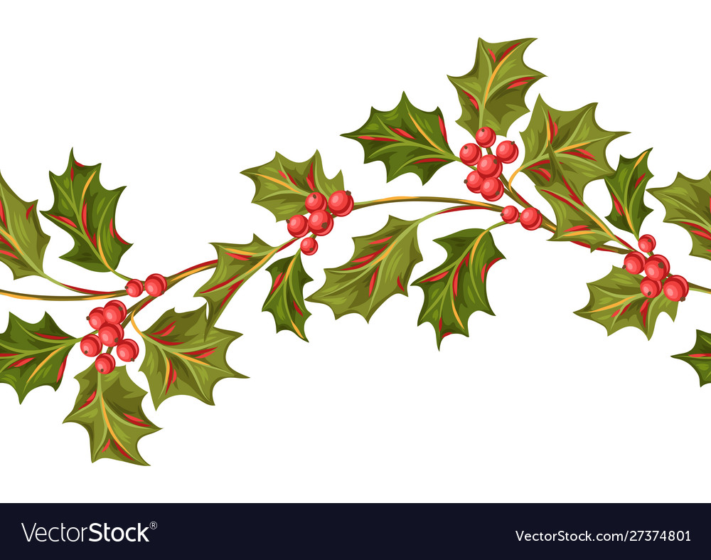 Seamless pattern with holly branches and berries