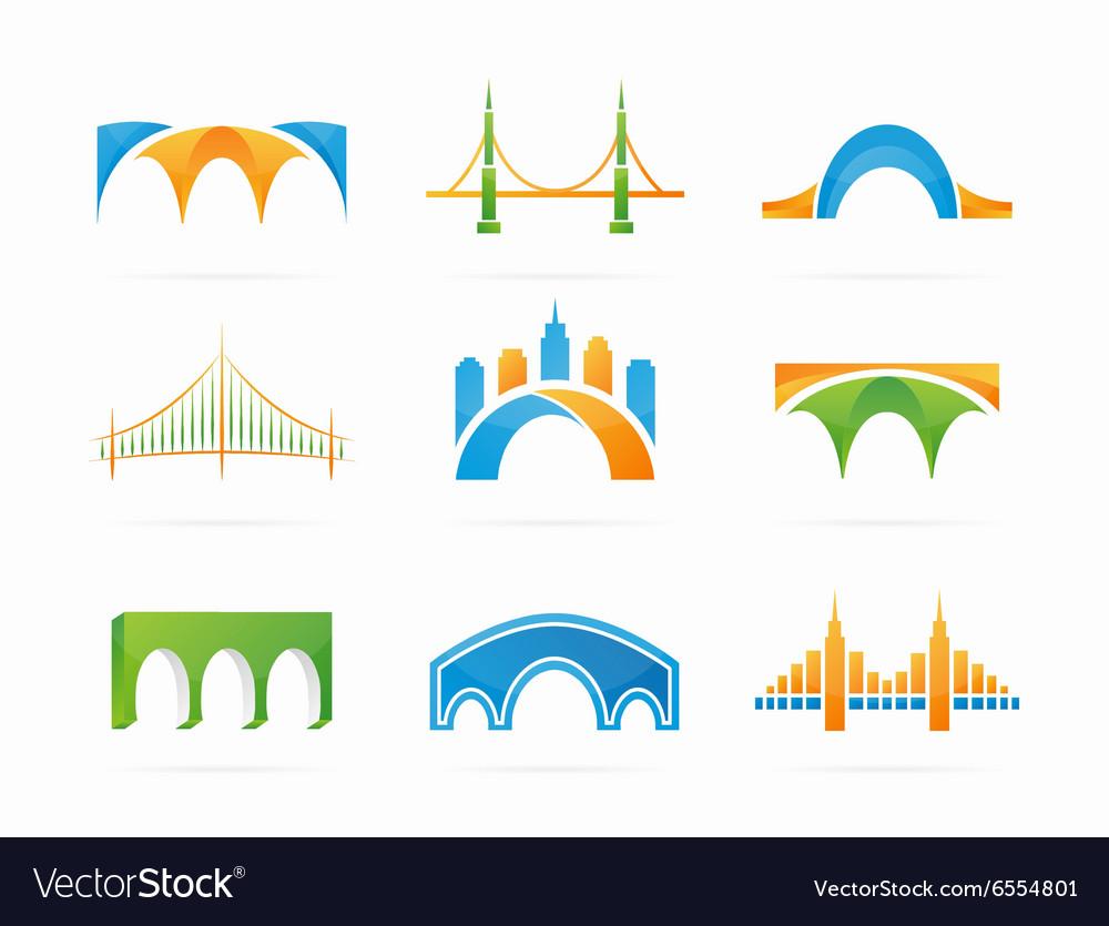 Set of abstract bridge connection logo