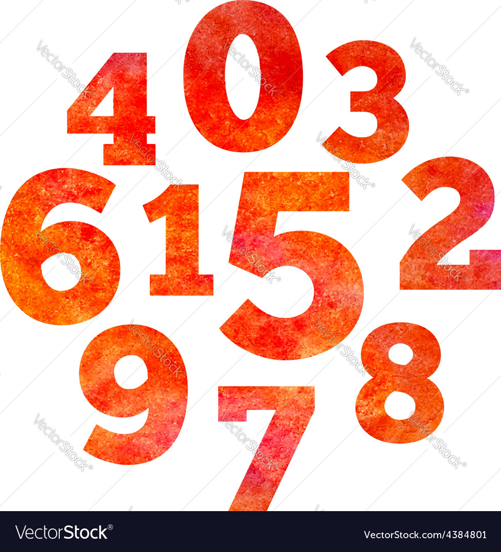 Set of watercolor colorful numbers