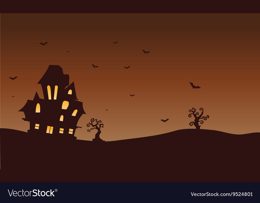 Silhouette of castle and bat Halloween