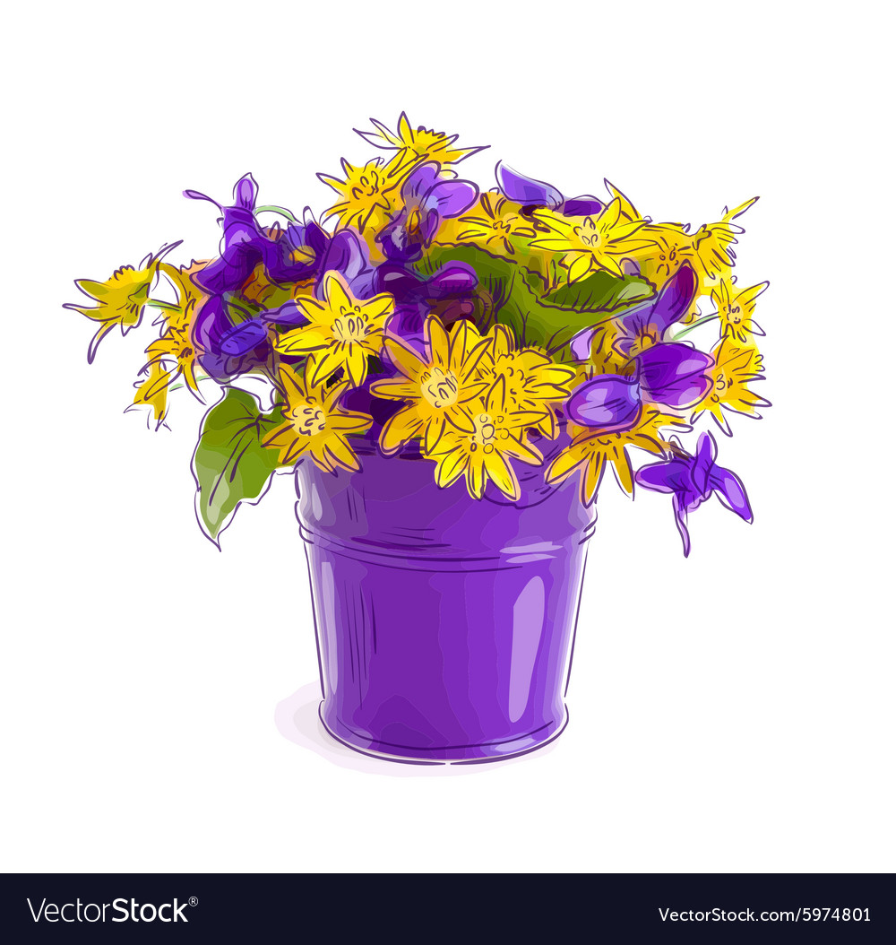 Small bouquet with meadow flowers in a bucket Vector Image