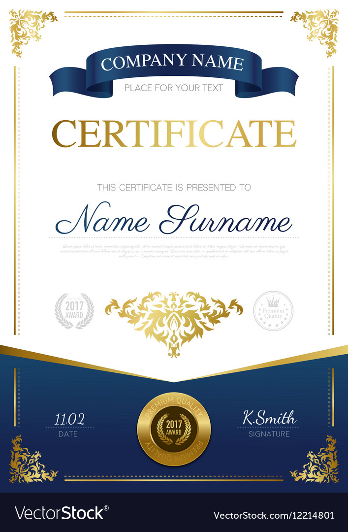 certificate vector stylish royalty
