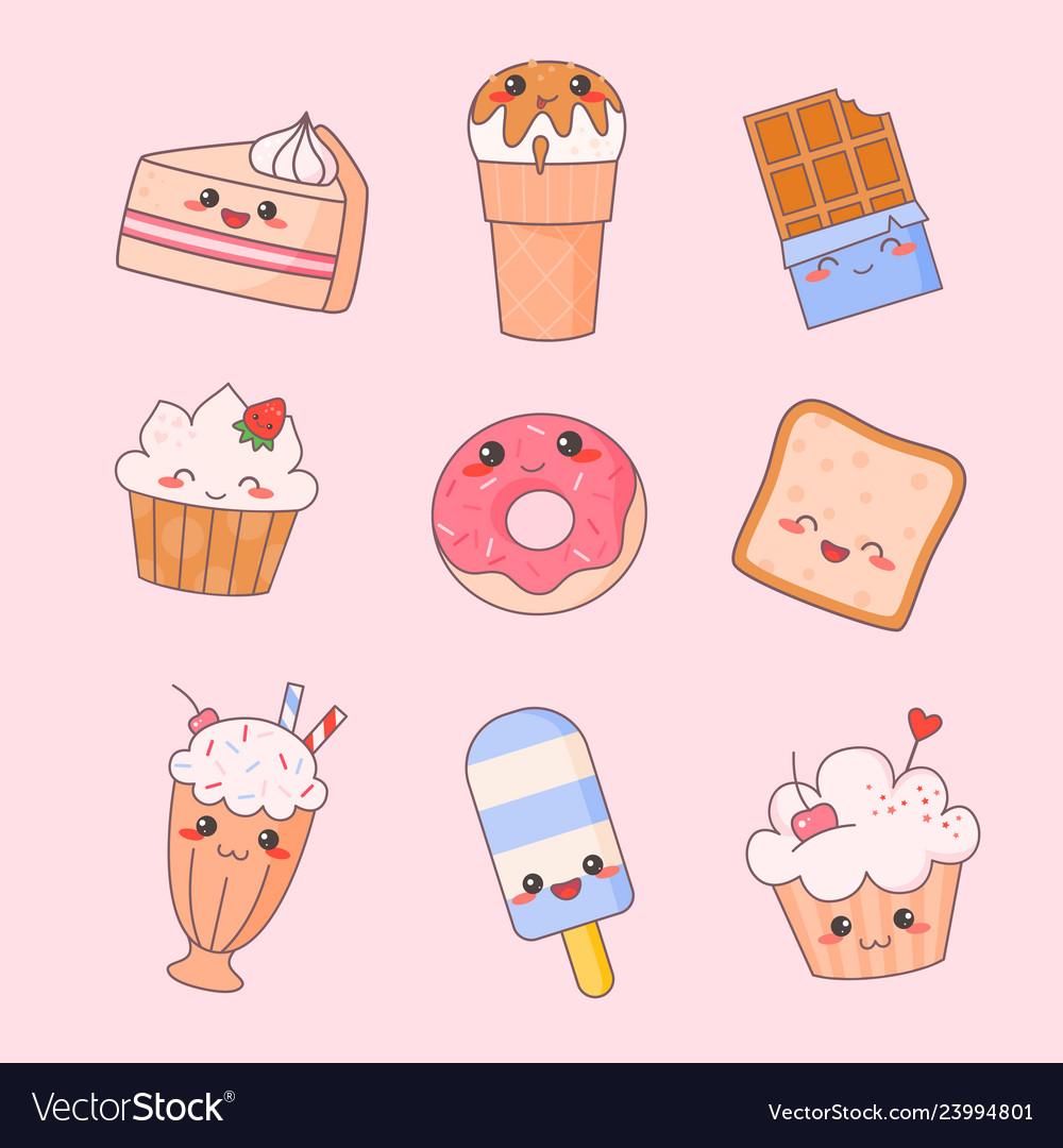 Sweet food kawaii cute face set ice cream