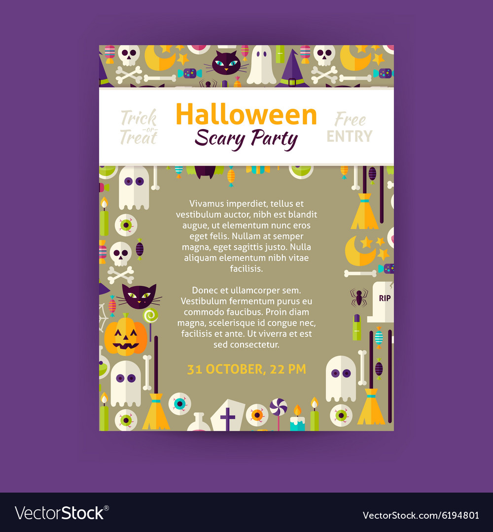 Trick or Treat Halloween Party Invitation Template vector image