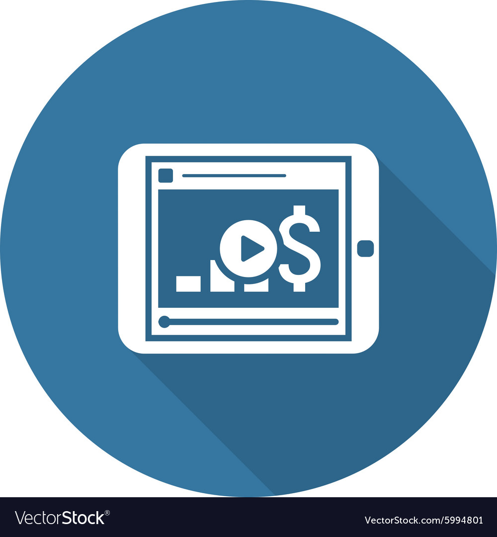 Video Lessons Icon Business Concept Flat Design vector image