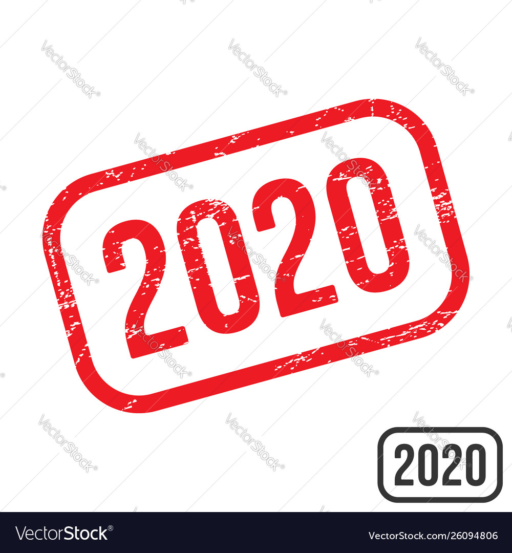 2020 rubber stamp with grunge texture design
