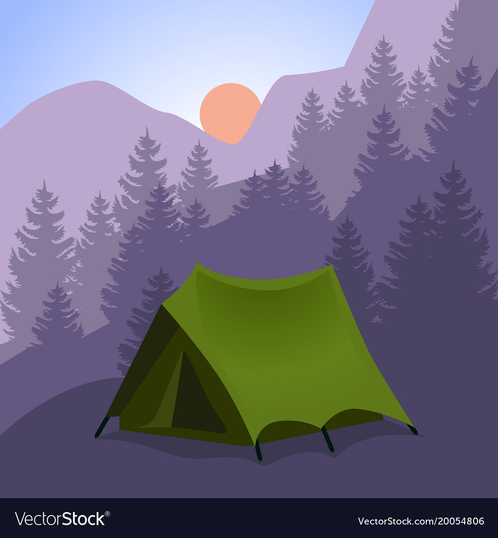 Camping cartoon tourist tent in mountains vector image