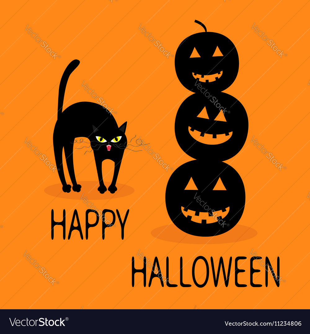 Cat arch back Three black silhouette funny smiling vector image