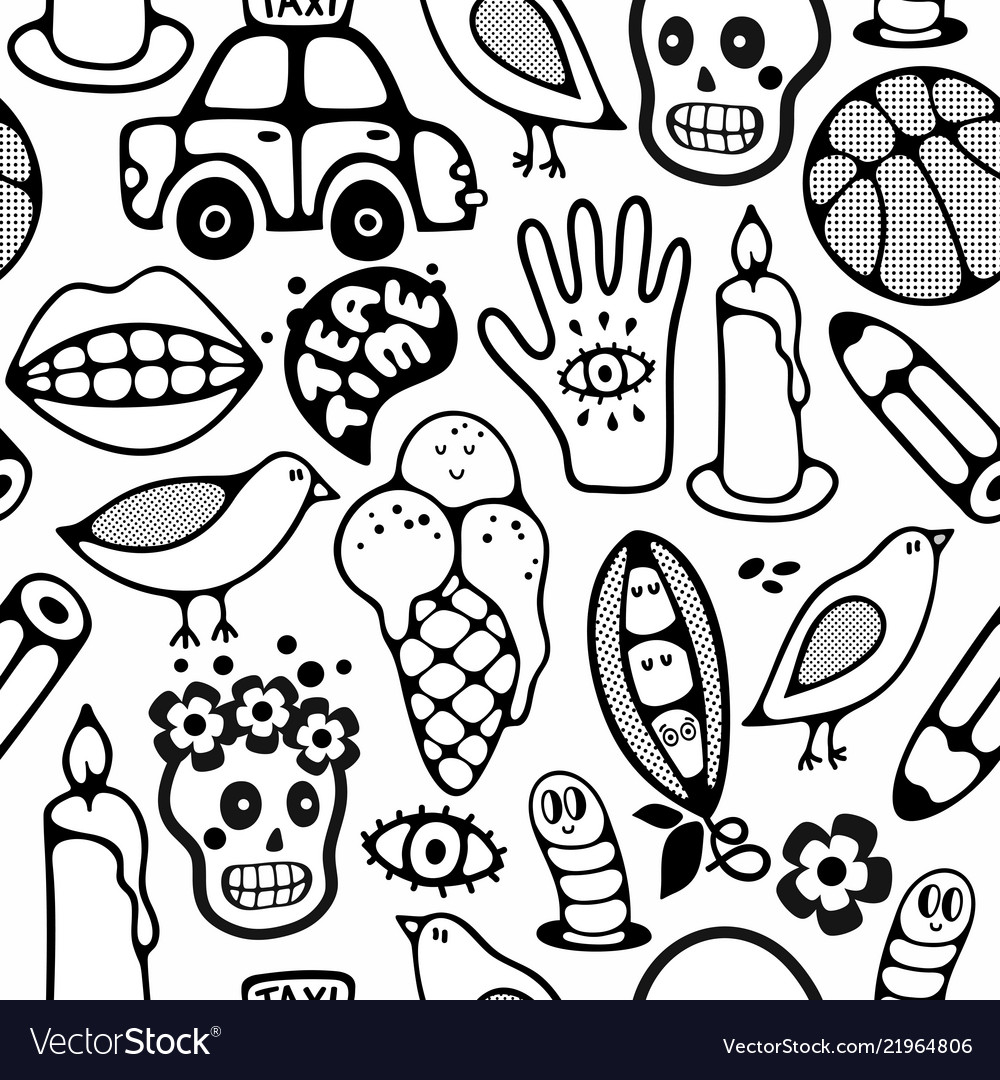 Endless pattern with cartoon characters