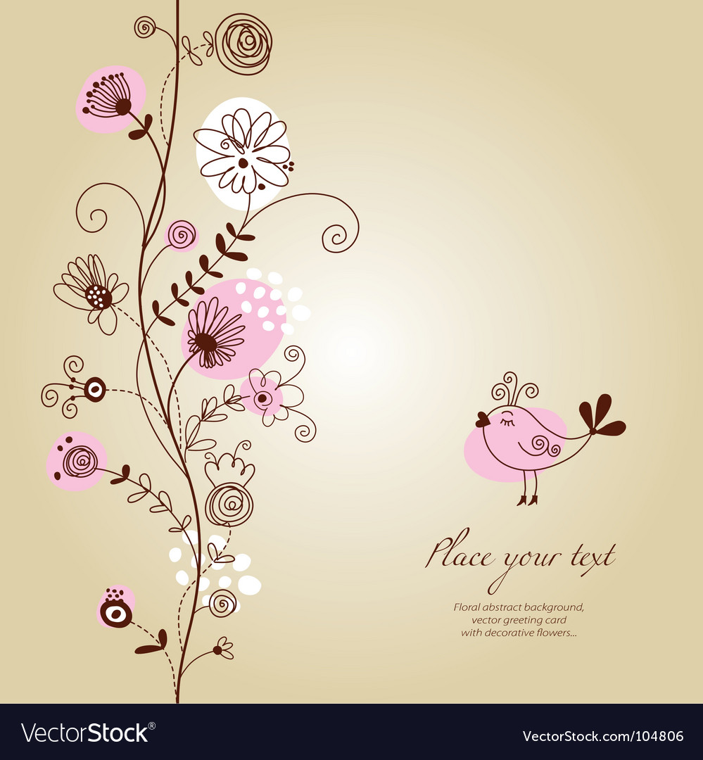 Floral background greeting card vector art - Download Background