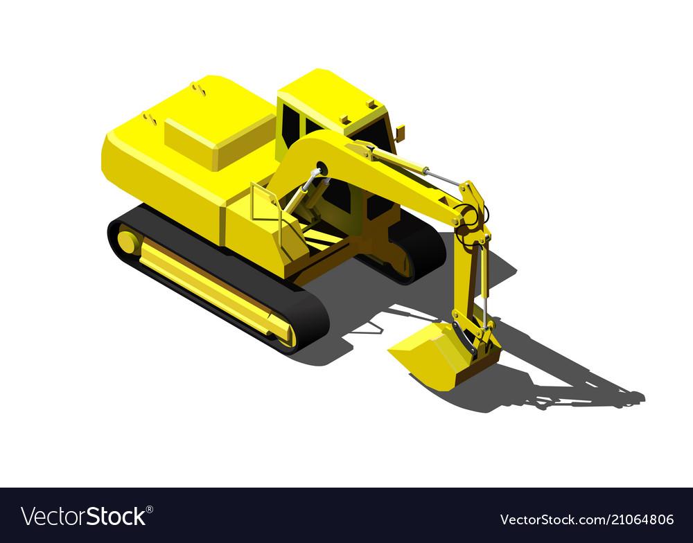Heavy excavator isolated on white modern