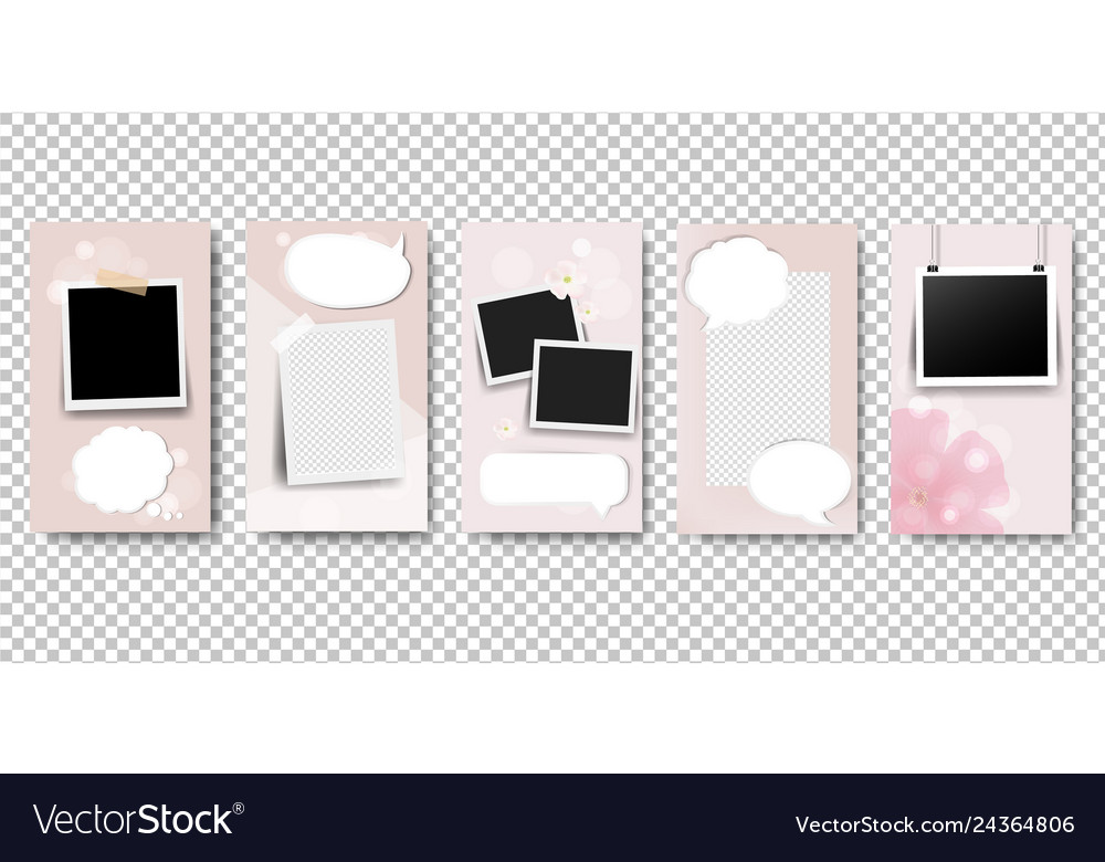Pink stories template isolated transparent