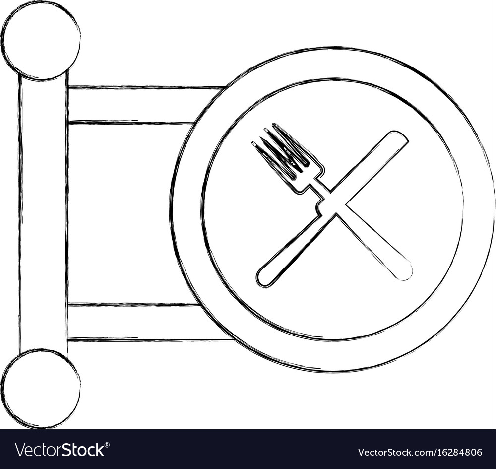 Restaurant hanging sign isolated icon vector image