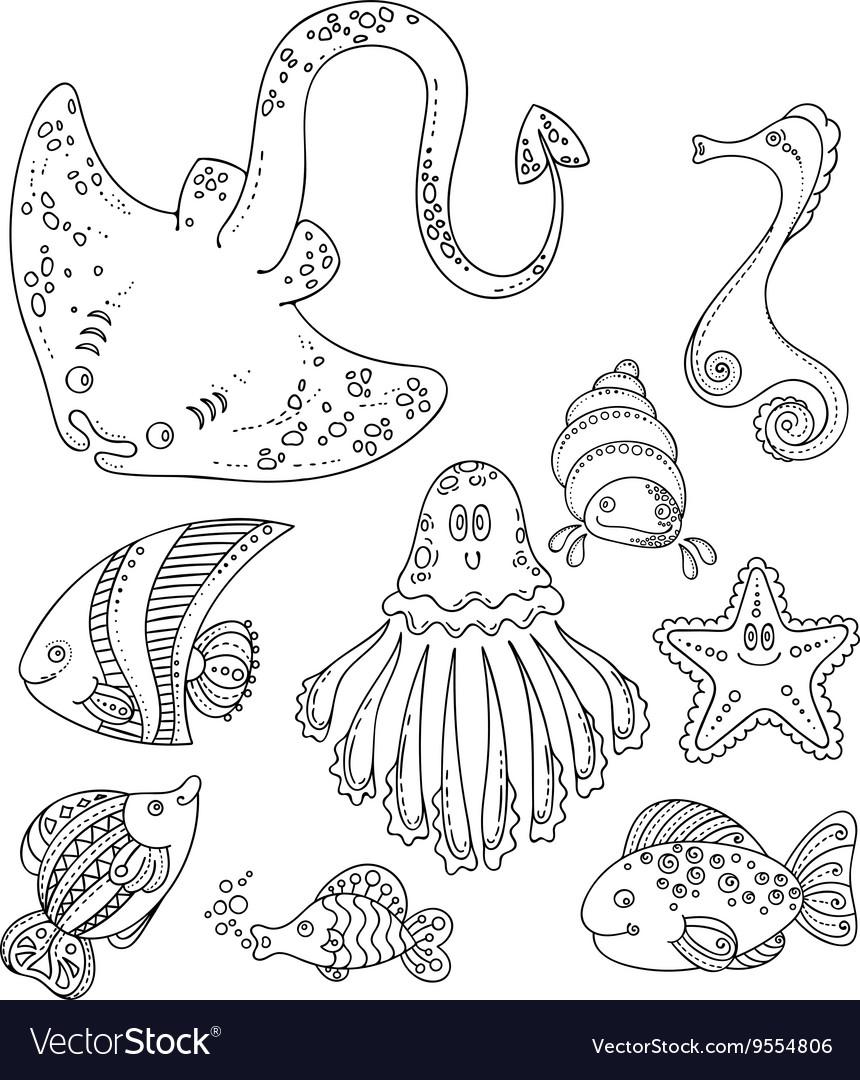 Set of cute doodle sea creatures