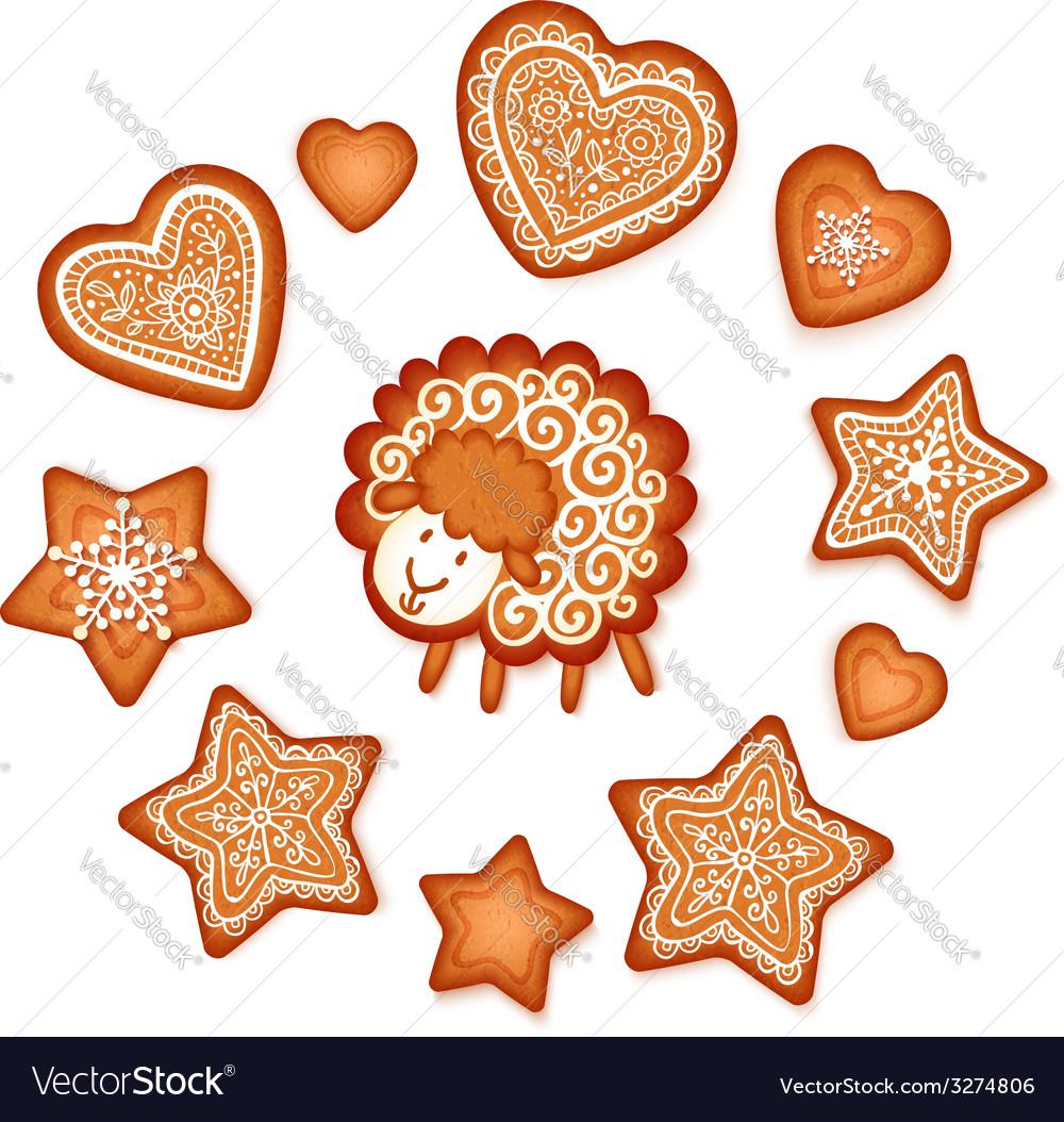 Sweet gingerbread stars hearts and sheep Christmas