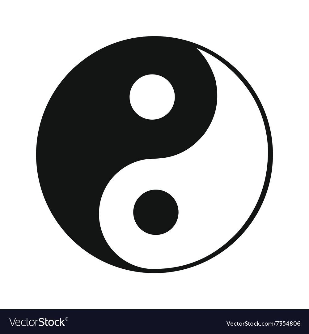 ying yang black simple icon royalty free vector image rh vectorstock com Yin Yang Shape Yin Yang Symbol