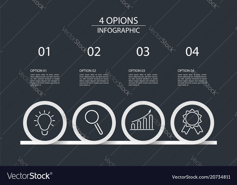 4 steps infographic design template circle style