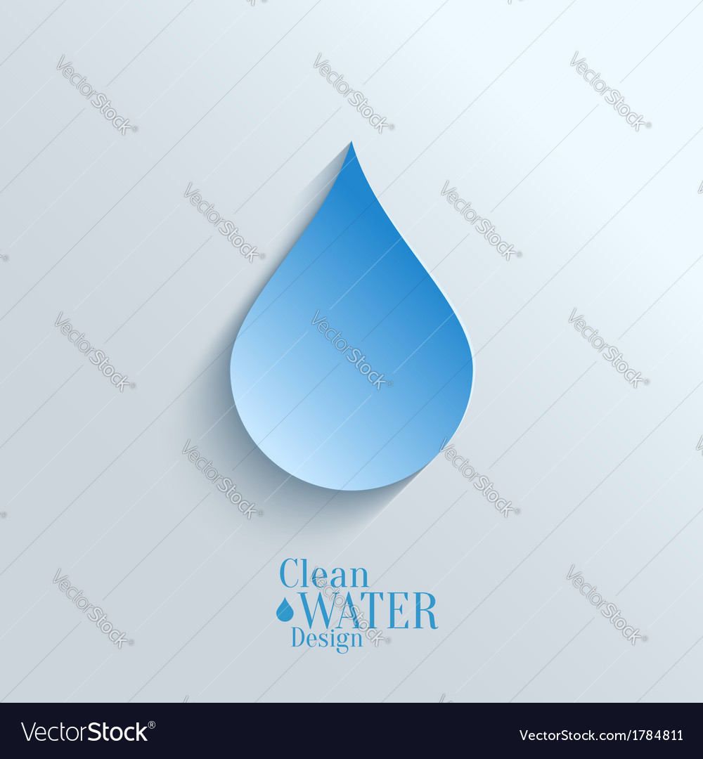 Abstract Paper Water Drop on Blue Background
