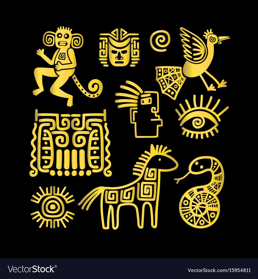Aztec ancient animal golden symbols