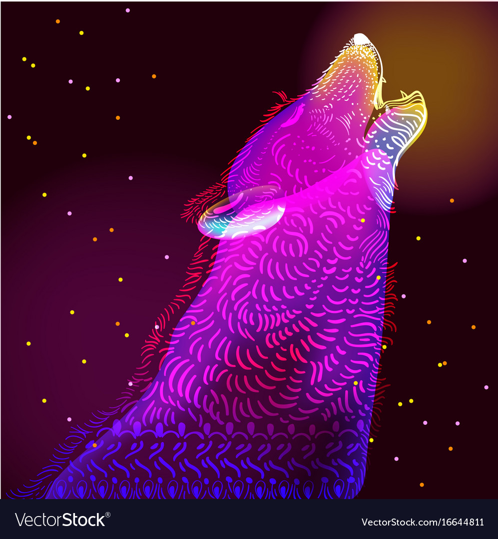 Doodle wolf vector image