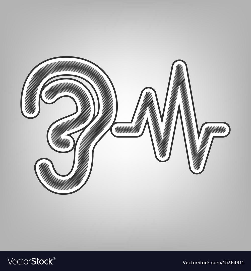 Ear hearing sound sign pencil sketch vector image