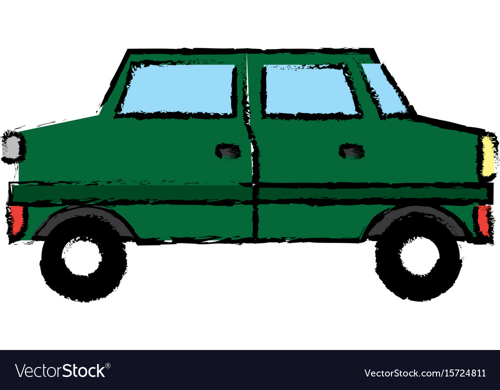 Green car sedan cartoon vehicle transport vector image