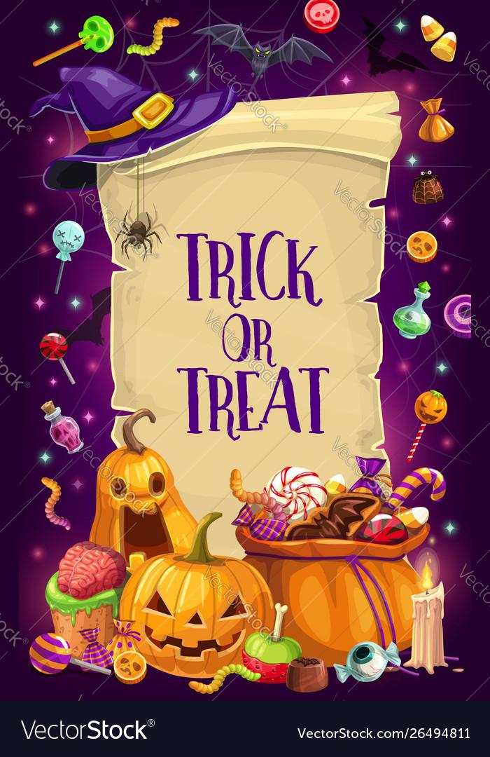 Halloween candies pumpkins bats trick or treat
