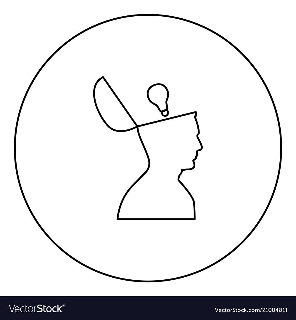 Man with lightbulb idea in open head black icon