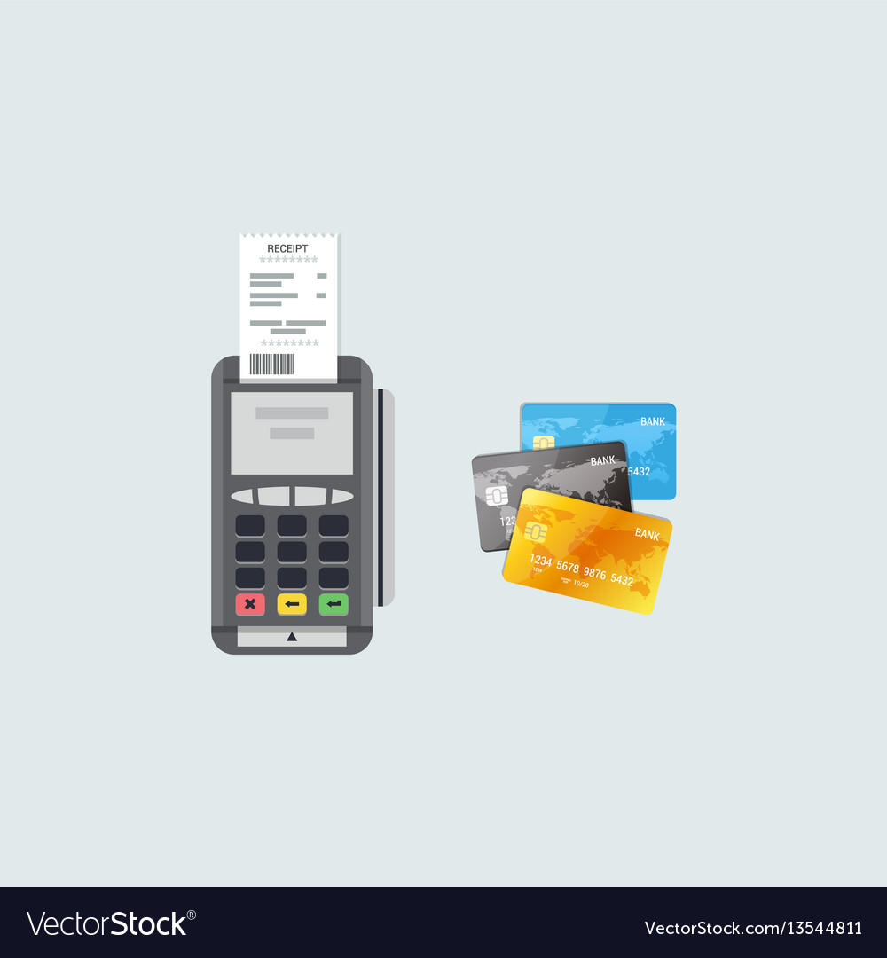 Payment and banking concept in flat style pos vector image