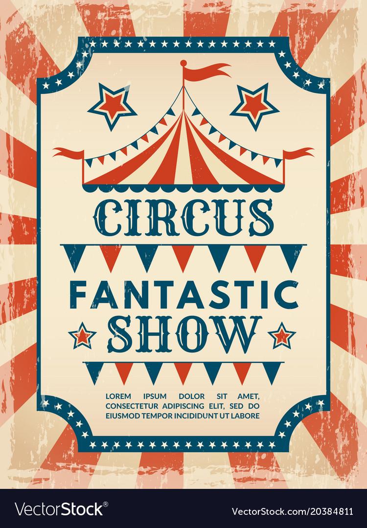 Retro poster invitation for circus magic show