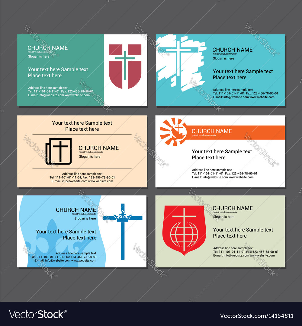 set christian business cards for the church vector image - Christian Business Cards