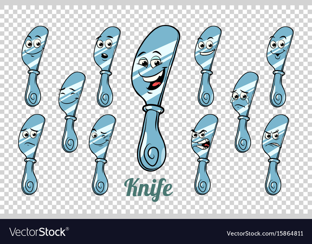 Table knife emotions characters collection set vector image