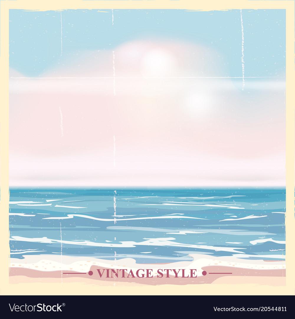 Vintage seaside summer view poster seascape vector image