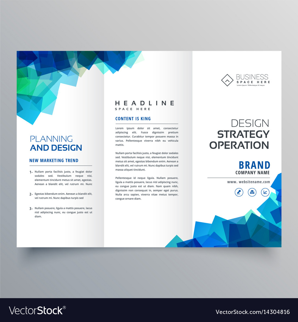 business trifold brochure layout template with vector image