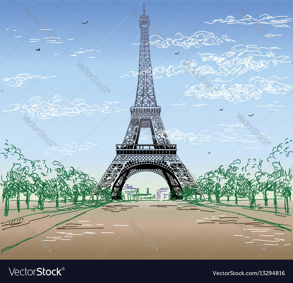 Colorful landscape with eiffel tower
