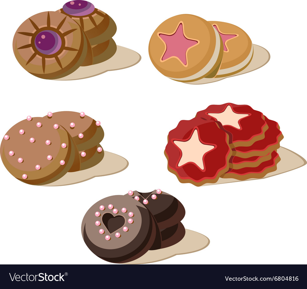 Colourful Cookies Set of Cartoon Icons vector image