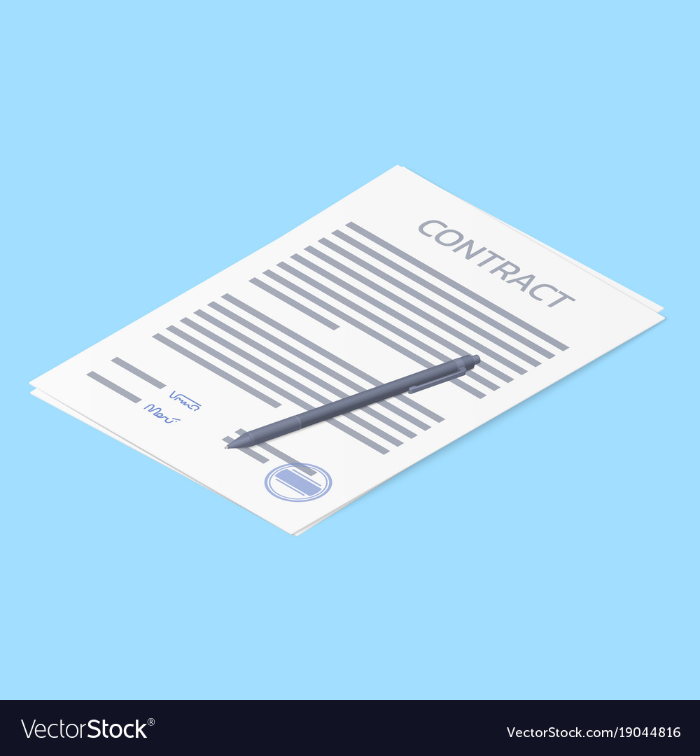 Contract agreement paper blank with stamp