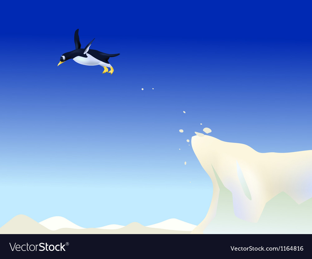 Diving penguin vector image