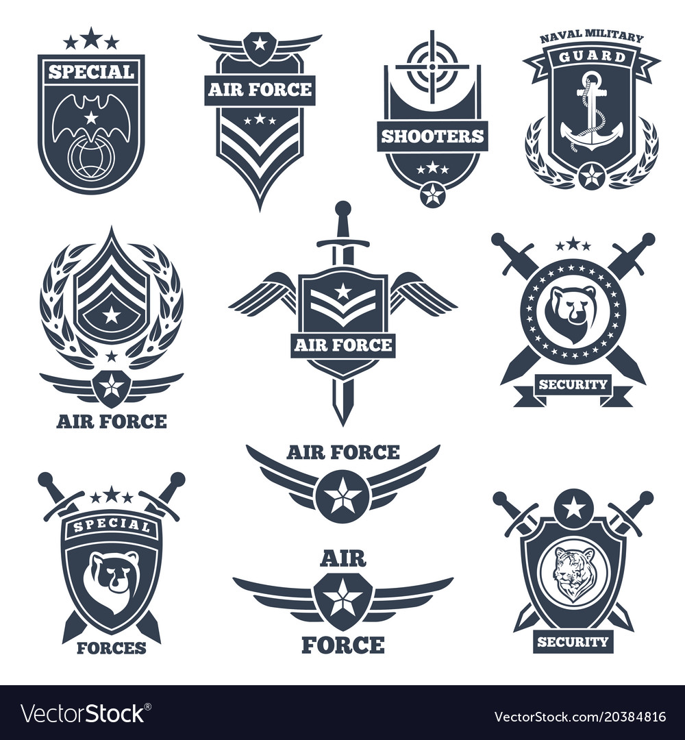Emblems and badges for air and ground forces vector image