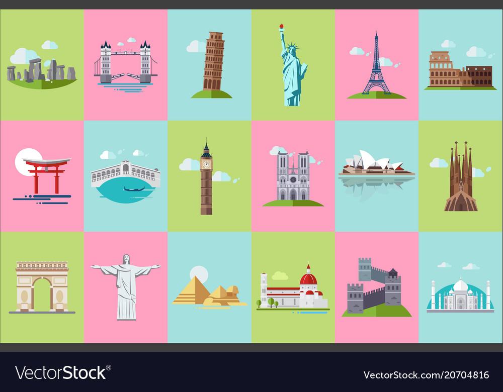 Famous architectural landmarks icons set popular